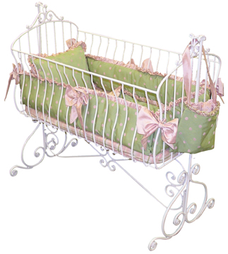 Suzette bedding on #211 Country French Rectangular Cradle