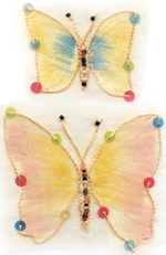 closeup of embroidered butterflies